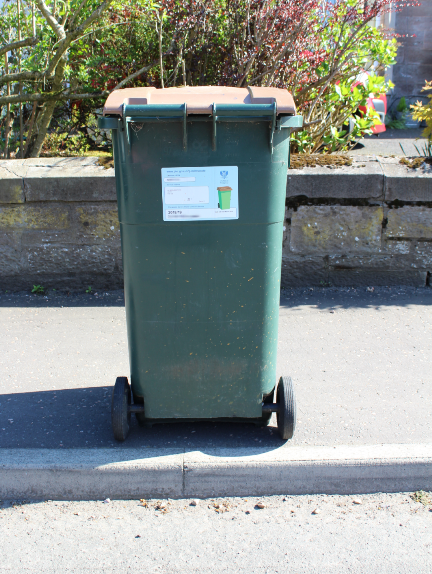 Present your brown-lidded bin for collection on the day of uplift by 7:30am