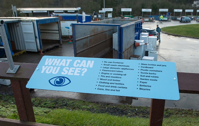Viewing platform over Friarton Recycling Centre. What materials can you bring to a Recycling Centre?