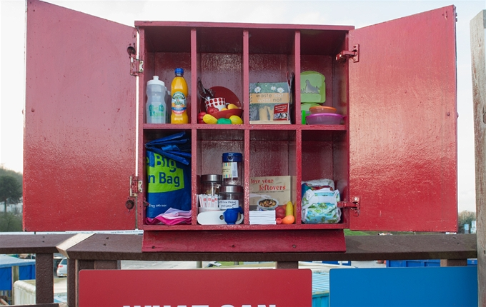 Reduce section: A good example of a household cupboard with items that produce less waste.