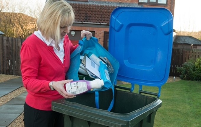 Transfer mixed recycling materials into your blue-lidded bin (no plastic bags or glass)